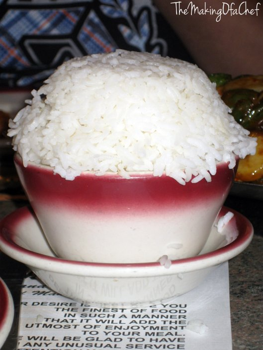 Steamed white rice to go with the beef and chicken