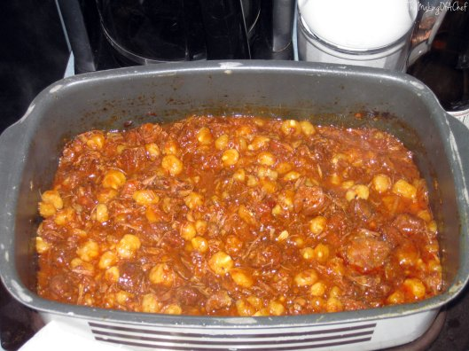 This was taken after simmering for around 16 hours. I added the hominy in about 3 hours prior and it thickened up nicely afterwards.