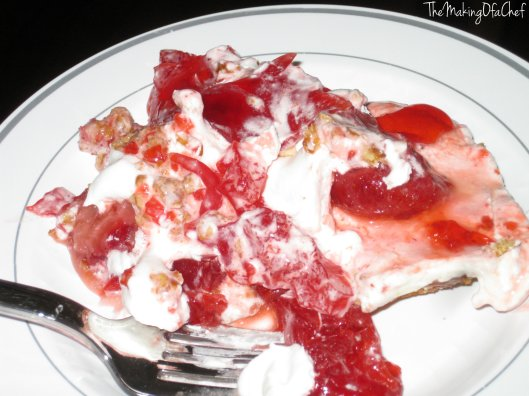 Not your usual cheesecake dessert. The base was made with pretzels and the usual cheesecake filling was replaced with Strawberry Jell-O.